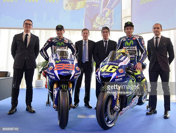 Director of Consumer Business in Catalonia at Movistar Bruno Vilarasau MotoGP rider Jorge Lorenzo of Spain Yamaha Motor Racing Managing Director Lin...