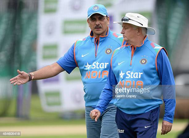 Director of Cricket Ravi Shastri speaks with coach Duncan Fletcher during a nets session at Headingley on September 4 2014 in Leeds England