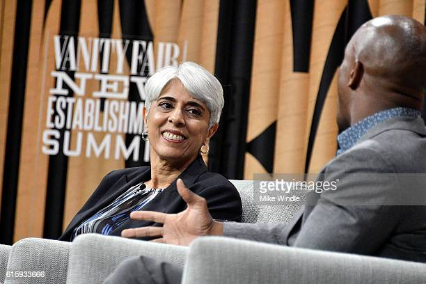 Director of DARPA Arati Prabhakar and coanchor of CNBC's Squawk Alley Jon Fortt speak onstage during What Are They Thinking Man Meets Machine at the...