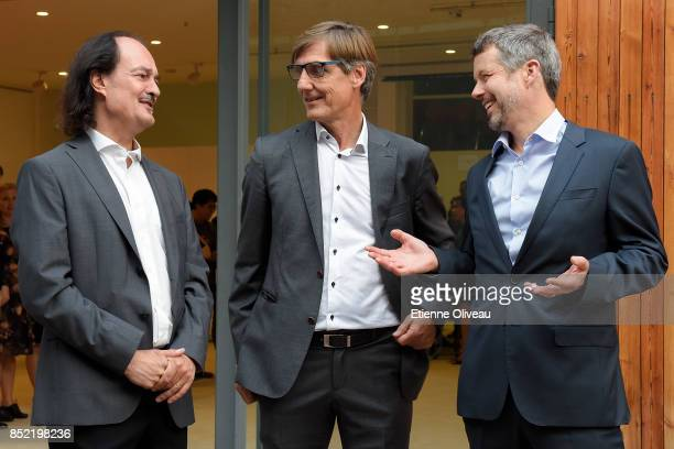 Director of DCC Eric Messersmidt and Chairman of Danish Culture Institute Carsten Haurum welcome The Crown Prince Frederik of Denmark at the opening...