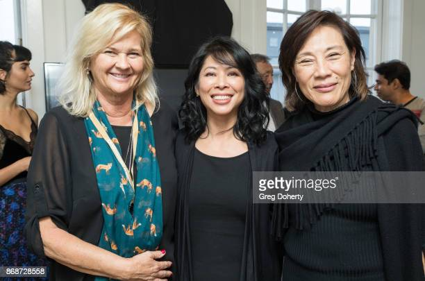 AWFF Director of Development Philanthropy Lani Netter Author Loung Ung and Guest attend a reception as Angelina Jolie Accepts the Rising Star Award...