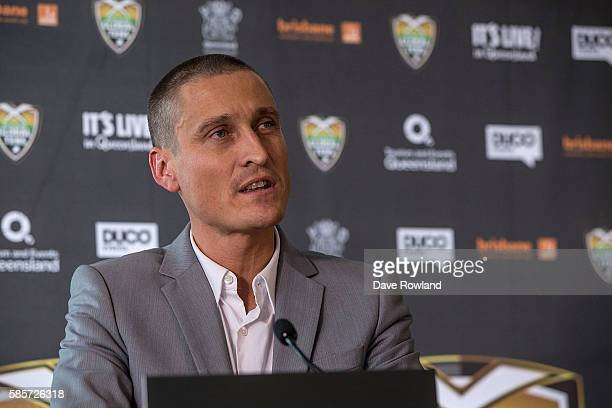 Director of Duco Events David Higgins speaks to the media during the Rugby 10's Launch at Spencer on Byron Hotel on August 4 2016 in Auckland New...