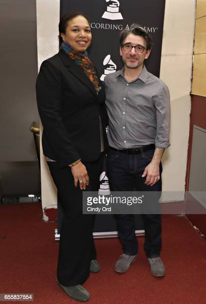 Director of Education Apollo Theater Foundation Shirley Taylor and New York Chapter of The Recording Academy Executive Director Nick Cucci attend the...