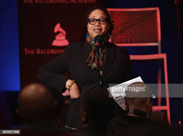 Director of Education Apollo Theater Foundation Shirley Taylor speaks during the GRAMMY Pro Songwriters Summit Women Making Music at The Apollo...