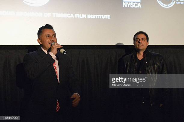 Director of Education Tribeca Film Festival Virgilio Bravo and Director Antonino D'Ambrosio speak at the Let Fury Have The Hour Youth Screening...