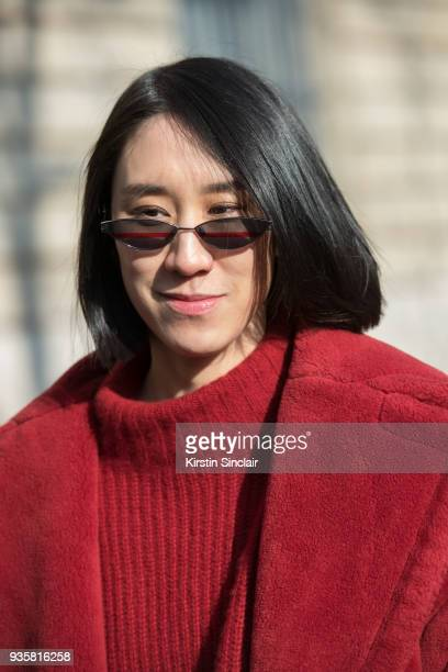 Director of fashion partnerships at Instagram Eva Chen wears a Max Mara coat Gentle monster sunglasses and a Sally Lapointe turtleneck day 3 of Paris...