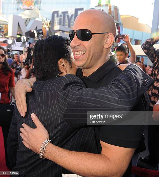 Director of 'Fast Furious' Justin Lin and director/writer of ' Los Bandoleros' Vin Diesel attend Universal Studios Home Entertainment's DVD release...