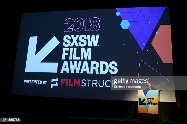 SXSW director of film Janet Pierson takes part in the SXSW Film Awards show during the 2018 SXSW Conference and Festivals at Paramount Theatre on...