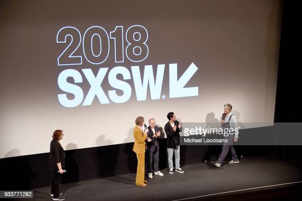 SXSW director of film Janet Pierson writer and director Wes Anderson producer Jeremy Dawson and actors Kunichi Nomura and Bill Murray introduce the...