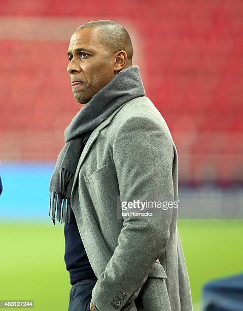 Director of football Les Ferdinand talks on the pitch side before the Barclays Premier League match between Sunderland and Queens Park Rangers at the...