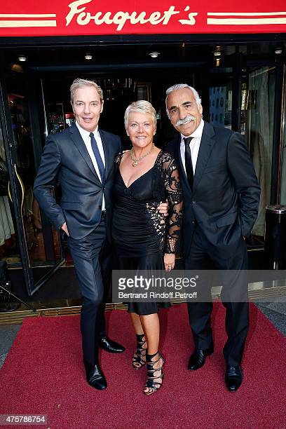 Director of Fouquet's Tony Gomez Frederique Bahrami and Mansour Bahrami attend the Trophee des Legendes Dinner at Le Fouquet's champs Elysees on June...