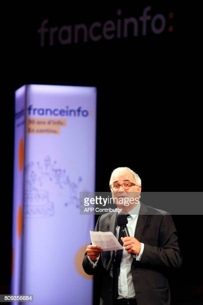 Director of Franceinfo Vincent Giret gestures as he speaks during a masterclass at the Maison de la Radio in Paris on July 5 2017 as part of the...
