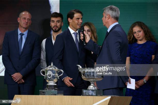 Director of French Open Guy Forget Guillaume Cizeron Gabriella Papadakis winners of 2017 French Open Rafael Nadal of Spain Jelena Ostapenko of...