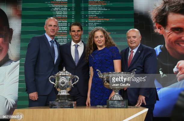 Director of French Open Guy Forget winners of 2017 French Open Rafael Nadal of Spain and Jelena Ostapenko of Lettonia President of French Tennis...