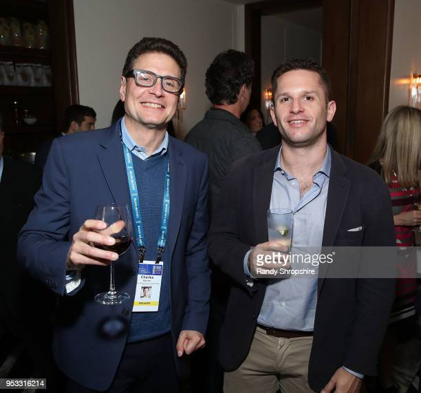 Director of Future of Storytelling Charles Melcher and senior editor of Business Insider Josh Barro attend GLG Social Impact Dinner At Milken at...
