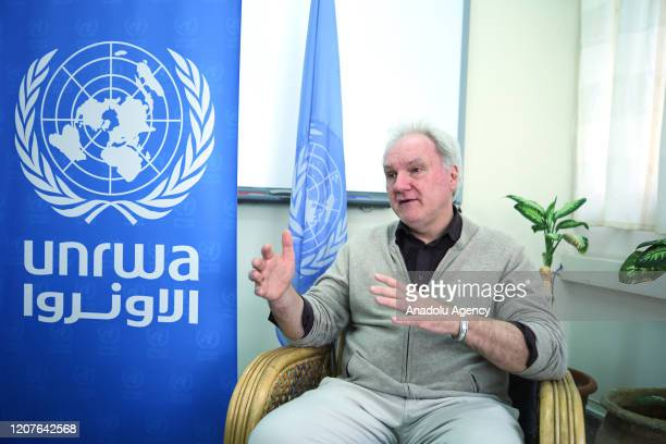 Director of Gaza Operations at United Nations Relief and Works Agency for Palestine Refugees in the Near East Matthias Schmalespeaks during an...