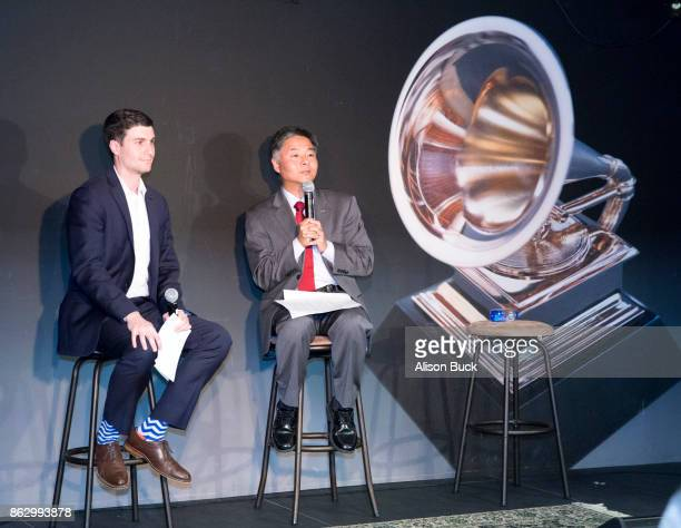 Director Of Government Relations at The Recording Academy Michael Lewan and United States Representative Ted Lieu speak onstage during District...