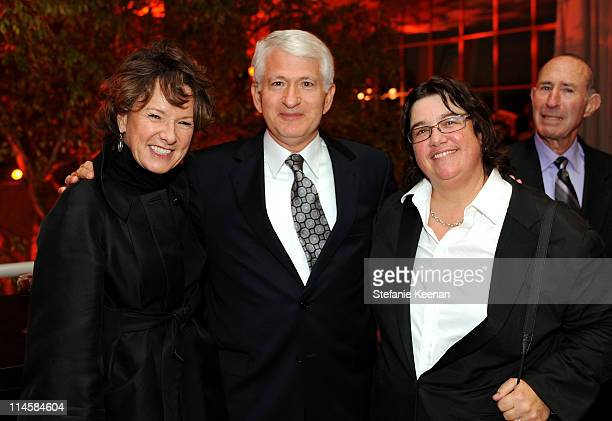Director of Hammer Museum Ann Philbin UCLA chancellor Gene Block and photographer Catherine Opie attend the Hammer Museum's Gala in the Garden...