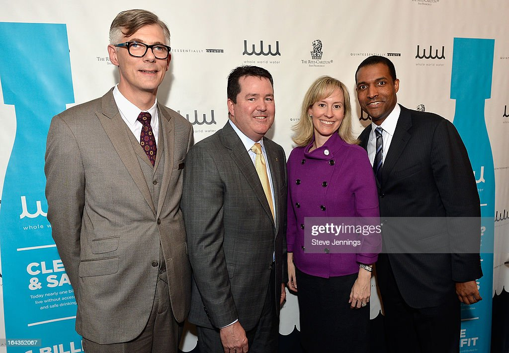 Director of Human Resources Jorg Kelly-Schade, General Manager of the Ritz Carlton, San Francisco Allen Highfield, Director of Meetings & Special Events Alexandra Nicandri and Director of Sales & Marketing Reggie Dominique attend the WHOLE WORLD Water launch event at Parallel 37 at The Ritz-Carlton, San Francisco on March 22, 2013 in San Francisco, California.