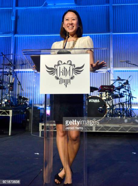 Director of iam College Track Tina Kim speaks onstage at william's iamangel Foundation TRANS4M 2018 Gala Honoring Sean Parker Chairman Parker...