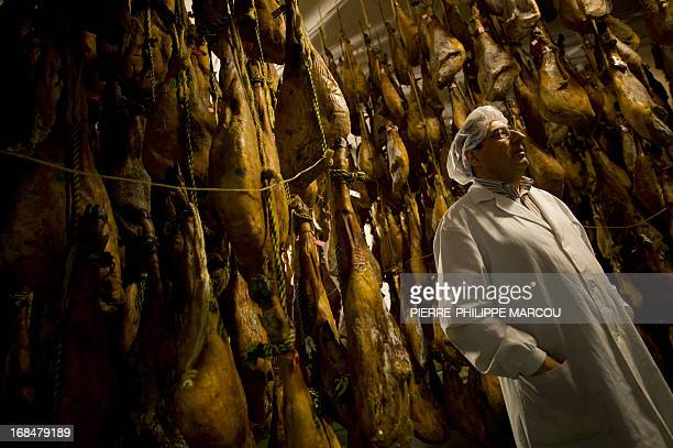 Director of Ibericos Arturo Sanchez Arturo Sanchez poses in front of hams in Guijuelo on May 7 2013 The exquisite cured ham produced from this breed...