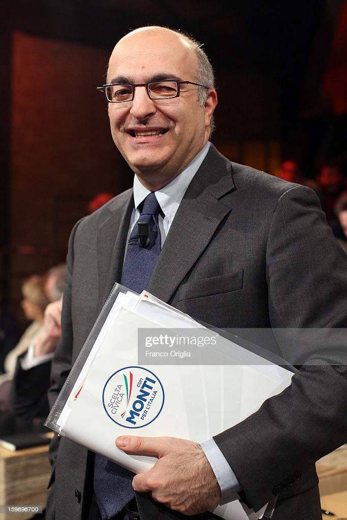 Director of 'Il Tempo' newspaper and candidate for the Mario Monti's coalition Mario Sechi attends Ballaro' Italian TV Show on January 22, 2013 in Rome, Italy. Outgoing Italian prime minister Mario Monti will lead a centrist alliance during the Italian elections in February.