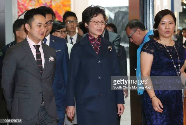Director of InkAsia Calvin Hui and Chief Secretary Carrie Lam Cheng Yuetngor attend opening ceremony of the Ink Asia exhibition to be held at the...