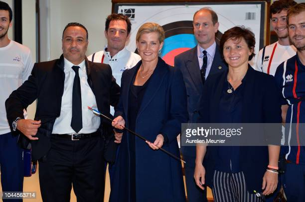 Director of INSEP Ghani Yallouz Sophie Countess Of Wessex Prince Edward Earl Of Wessex and French Sports Minister Roxana Maracineanu pose with...
