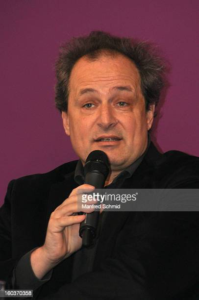 Director of Kunst Haus Wien Franz Patay delivers a speech during the press converence of the exhibition 'Paul Seiter' at Kunst Haus Wien on January...