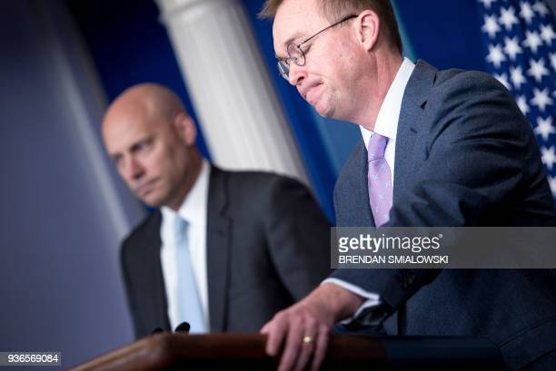 Director of Legislative Affairs Marc Short listens while Office of Management and Budget Director Mick Mulvaney speaks about the Consolidated...