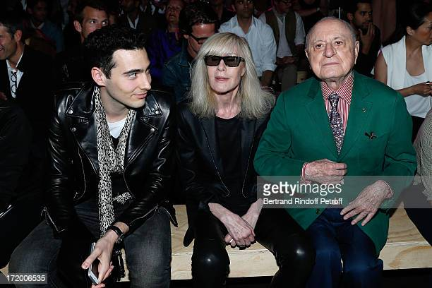 Director of L'Oreal and grandson of Liliane Bettencourt JeanVictor Meyers Betty Catroux and Pierre Berge attend Yves Saint Laurent Menswear...