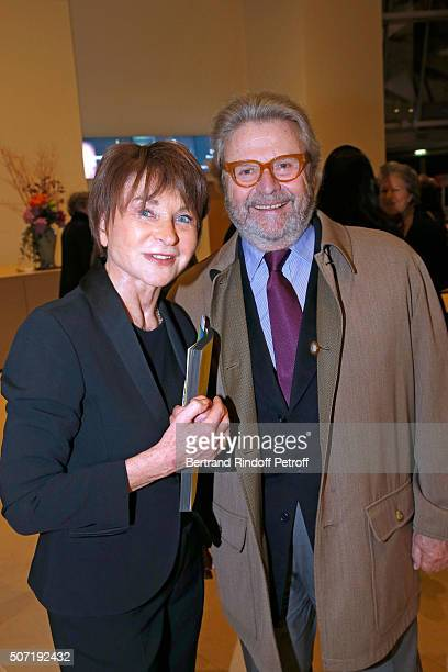 Director of Louis Vuitton Fundation Suzanne Page and Founder of 'Fondation Cartier' Alain Dominique Perrin attend the 'Bentu' Exhibition at the Louis...