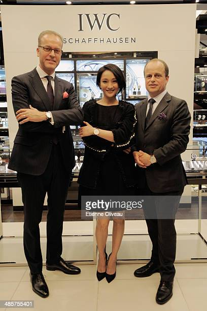 IWC Director of Marketing and Communications Goris Verburg Actress Zhou Xun IWC Managing Director Asia Pacific Benoit De Clerck pose for photographs...
