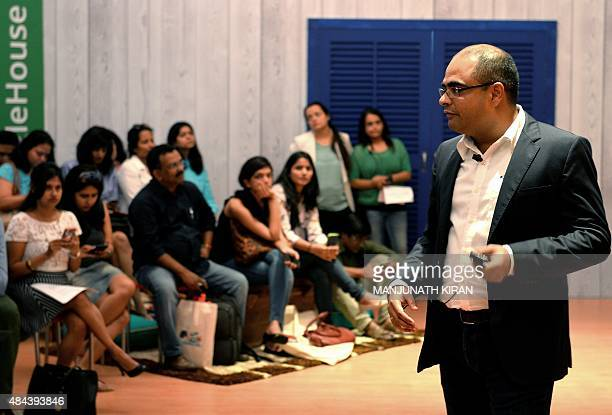 Director of Marketing for Google India Sandeep Menon talks to media during a 'Google House' event showcasing the company's latest product innovations...
