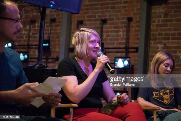 Director of Microsoft Brand Studios Amy Sorakas speaks on a panel during the sneak peek of Alison Wonderland's new stage show tech at Microsoft...