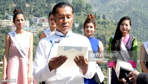 Director of Miss Himalaya pageant Lobsang Wangyal with contestants during introduction round held at Mcleodganj Town on October 6 2017 near...