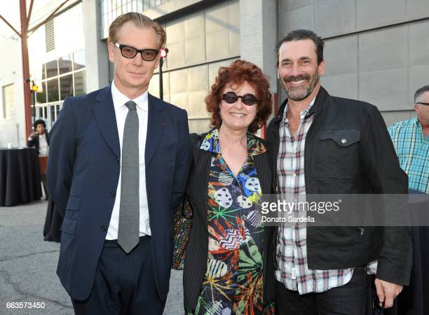 Director of MOCA Philippe Vergne artist Lorraine Bonanni and actor Jon Hamm attend MOCA's Leadership Circle and Members' Opening of 'Carl Andre...