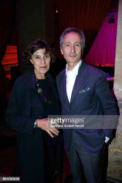 Director of Museum of Centre Pompidou Bernard Blistene and his wife MarieLaure attend the 'Bal Jaune Elastique 2017' Dinner Party at Palais...