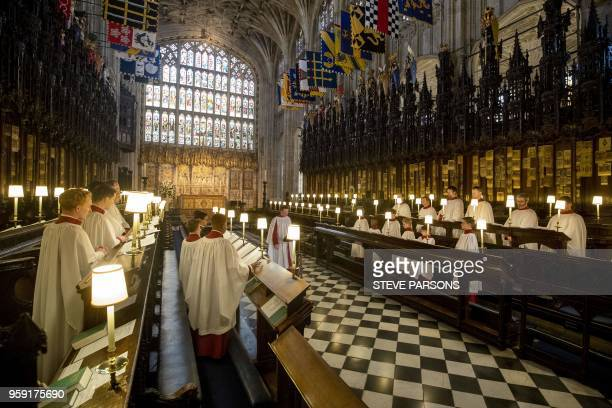 Director of Music at St George's Chapel in Windsor James Vivian directs the St George's Chapel Choir during a rehearsal before evensong and ahead of...