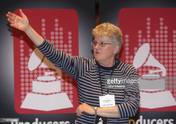 Director of Music Recording and Scoring of Skywalker Sound Leslie Ann Jones addresses attendees during the P E Wing Microphone Technique event at...