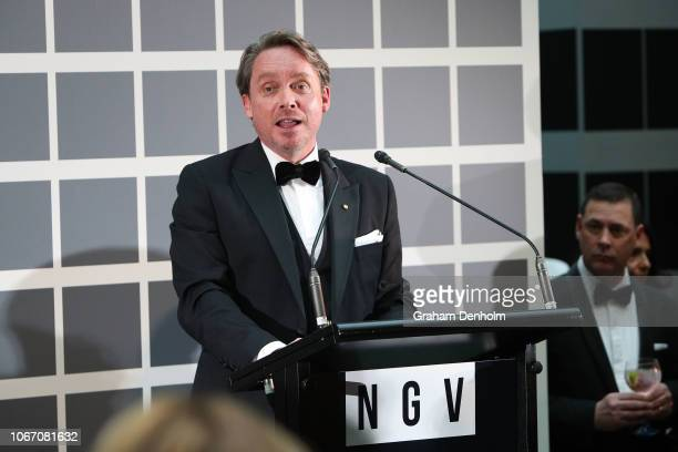 Director of National Gallery of Victoria Tony Ellwood speaks to guests during the NGV Gala 2018 at National Gallery of Victoria on December 1 2018 in...