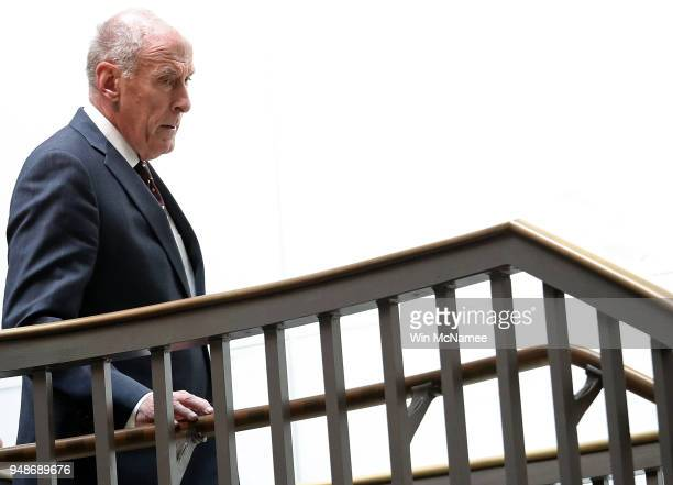 Director of National Intelligence Dan Coats arrives for a closed hearing held by the Defense Subcommittee at the US Capitol April 19 2018 in...