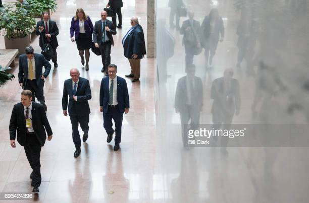 Director of National Intelligence Dan Coats arrives in the Hart Senate Office Building to testify during the Senate Select Intelligence Committee...