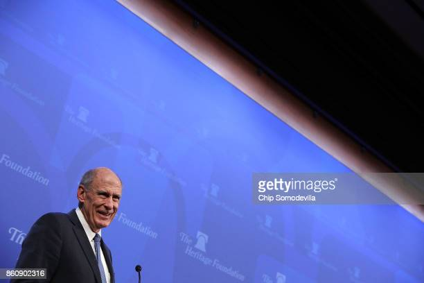S Director of National Intelligence Dan Coats delivers remarks arguing for the renewal of Section 702 of the Foreign Intelligence Surveillance Act at...