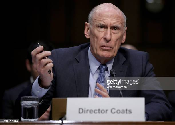 Director of National Intelligence Daniel Coats answers questions during a hearing held by the Senate Armed Services Committee March 6 2018 in...