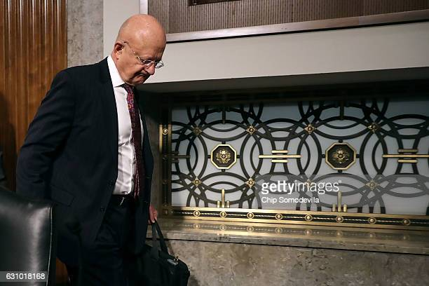Director of National Intelligence James Clapper arrives before testifying to the Senate Armed Services Committee in the Dirksen Senate Office...