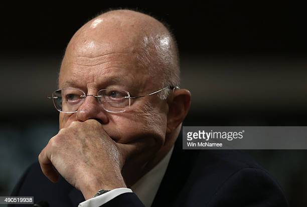 Director of National Intelligence James Clapper testifies before the Senate Armed Services Committee September 29 2015 in Washington DC The committee...