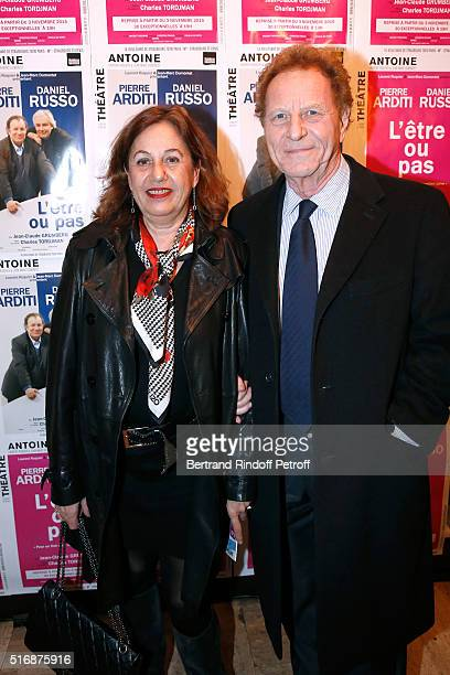 Director of Newspaper 'Var Matin' Robert Namias and his wife Anne Barrere attend the L'Etre ou pas Theater play at Theatre Antoine on March 21 2016...
