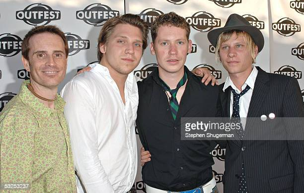 Director of Outfest 2005 Stephen Gutwillig with filmmakers Robert Stadlober Marco Kreuzpaintner and Hanno Koffler arrive at the Outfest 2005 Awards...