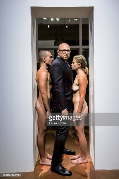 Artist Marina Abramovic and partner Todd Eckert take a selfiewith an Italian fan before the dinner party in her honour for the exhibition 'Marina...